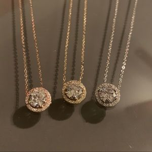 NADRI Pave CZ Halo Pendant in various finishes